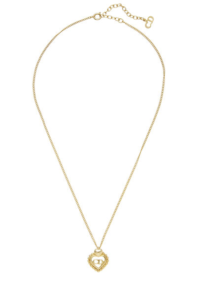 Gold 'CD' Heart Necklace Small