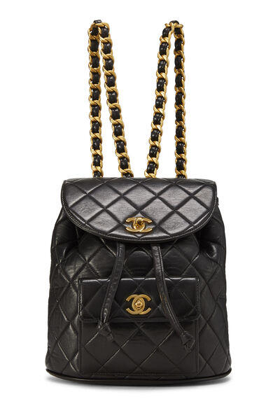Black Quilted Lambskin 'CC' Classic Backpack Small