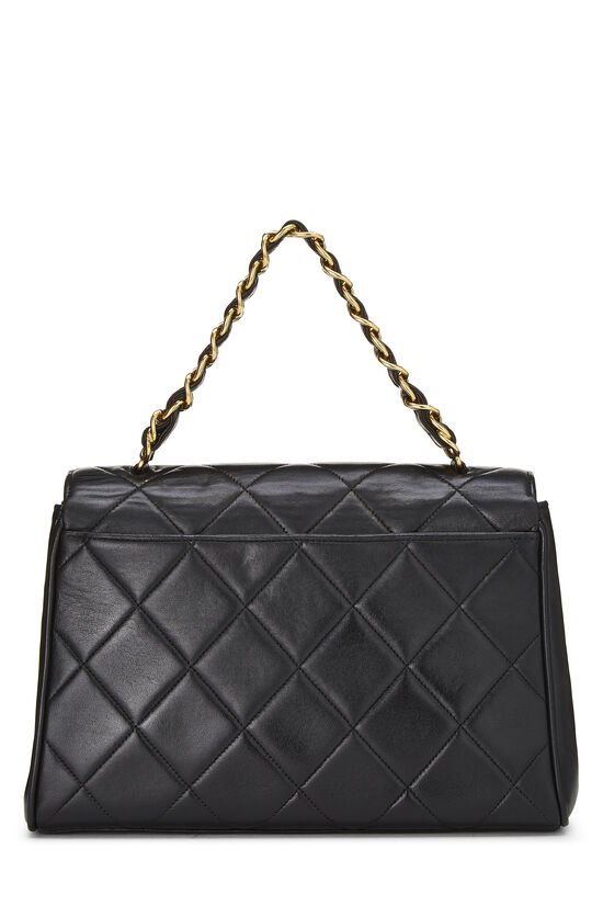 Black Quilted Lambskin Top Handle Bag, , large image number 3