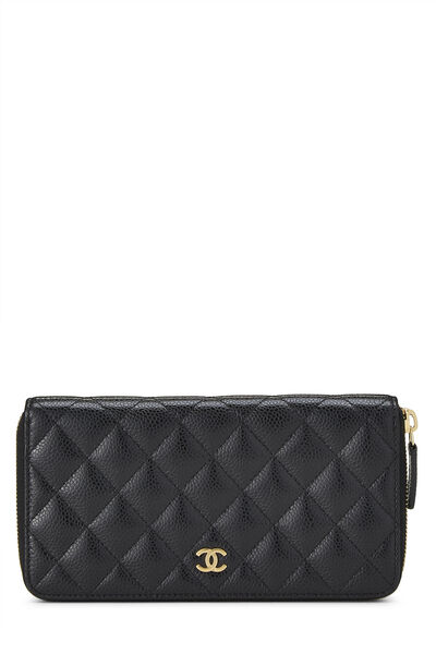 Black Quilted Caviar Continental Zip Wallet
