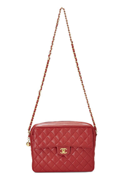 Red Quilted Caviar Pocket Camera Bag Large, , large