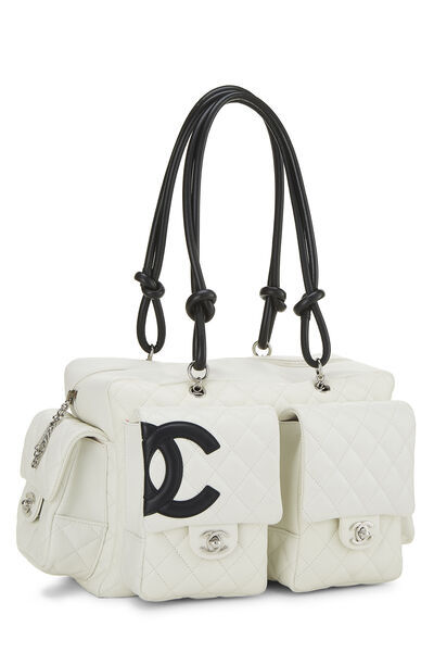 White Quilted Calfskin Cambon Ligne Reporter Large, , large