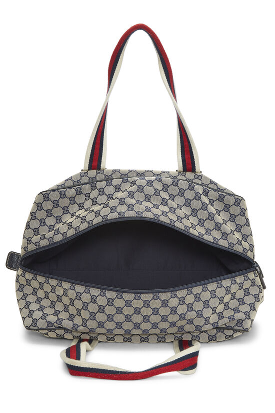 Navy GG Canvas Carry On Duffle Large, , large image number 5