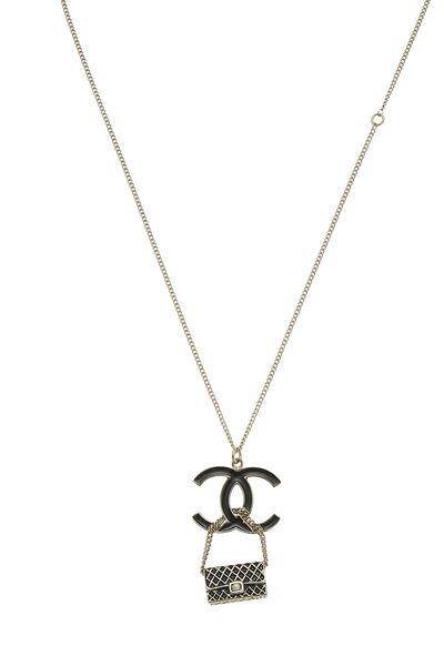 Gold & Black Enamel 'CC' Flap Bag Necklace, , large