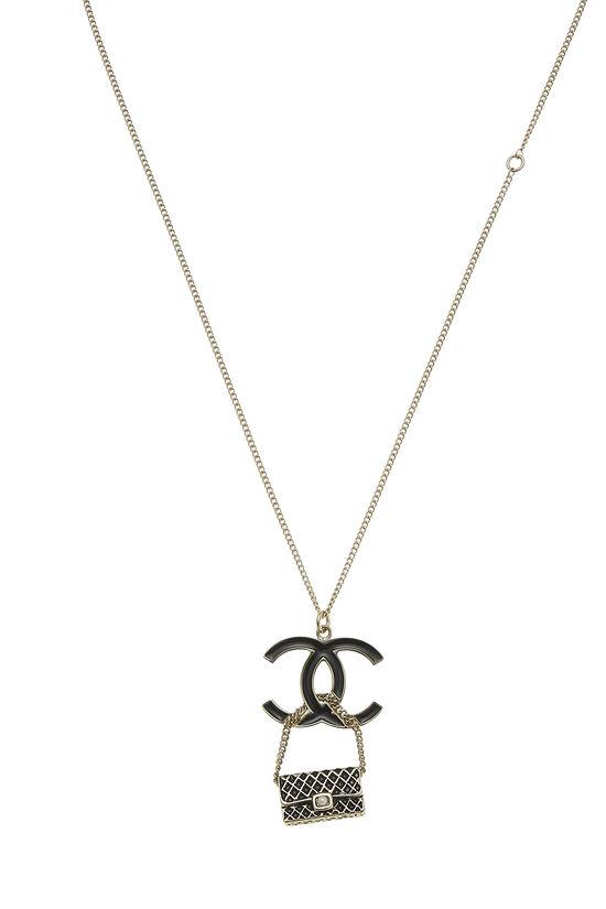 Gold & Black Enamel 'CC' Flap Bag Necklace, , large image number 1