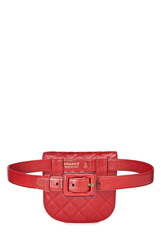 Red Quilted Caviar Belt Bag 30, , large image number 3