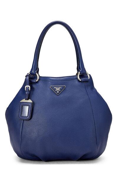 Blue Vitello Daino Shoulder Bag
