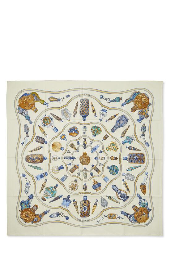 Cream & Multicolor 'Qu' Importe le Flacon' Silk Scarf 90, , large image number 0