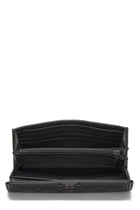 Black Quilted Caviar Boy Wallet, , large image number 3