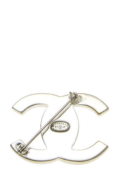 Silver 'CC' Turnlock Pin Large, , large
