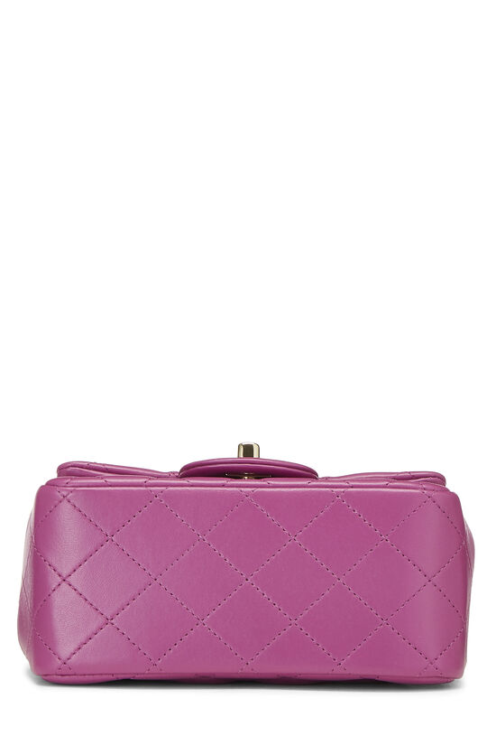 Purple Quilted Lambskin Classic Square Flap Mini, , large image number 4