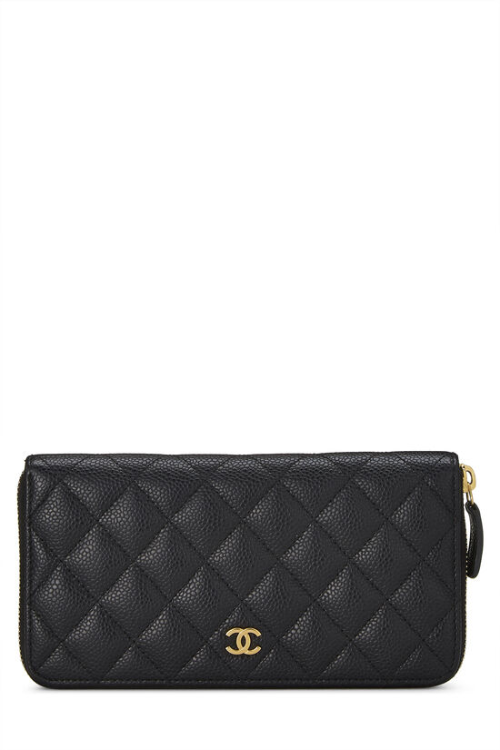 Black Quilted Caviar Zip Wallet, , large image number 0