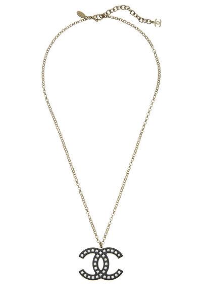 Black Acrylic & Crystal 'CC' Necklace