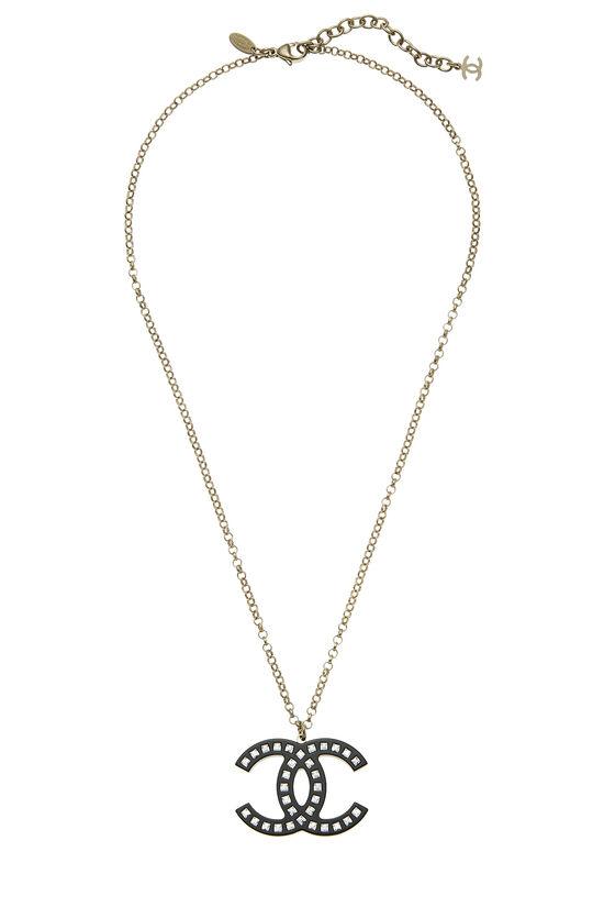 Black Acrylic & Crystal 'CC' Necklace, , large image number 0