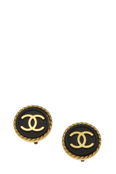 Black & Gold 'CC' Rope Edge Earrings