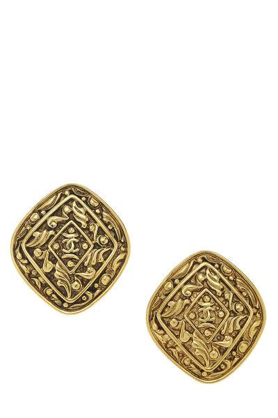 Gold Filigree 'CC' Earrings Large