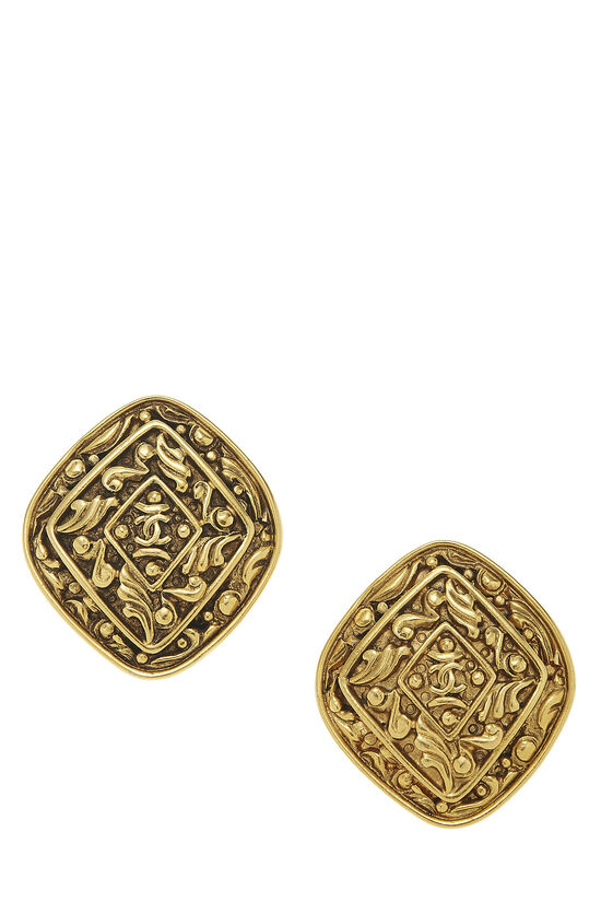 Gold Filigree 'CC' Earrings Large, , large image number 0