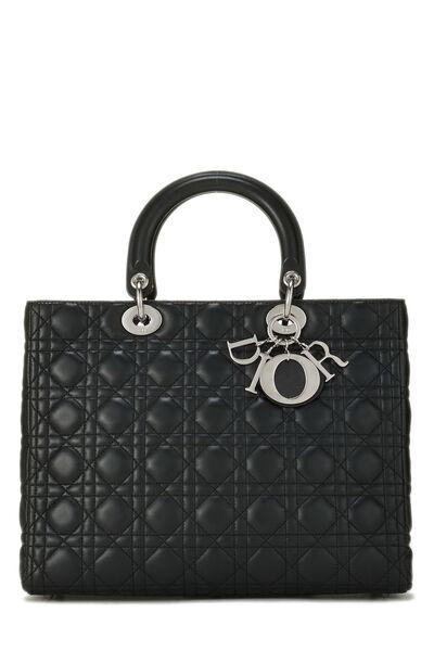 Black Cannage Lambskin Lady Dior Large