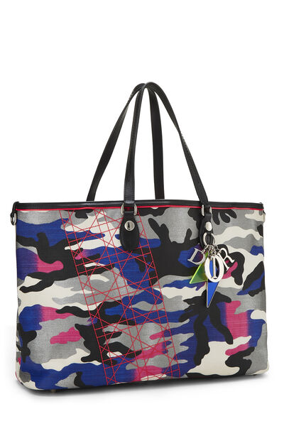 Anselm Reyle x Christian Dior Multicolor Camouflage Coated Canvas Tote, , large