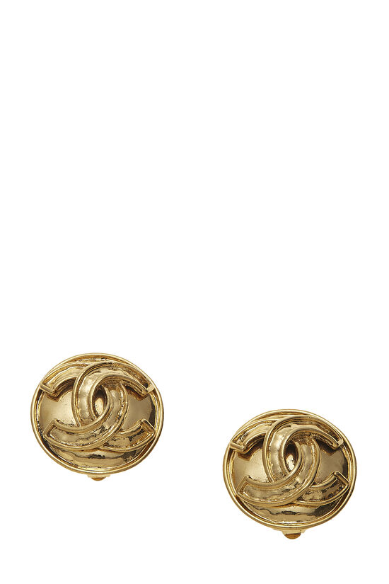 Gold Round 'CC' Earrings Small, , large image number 0