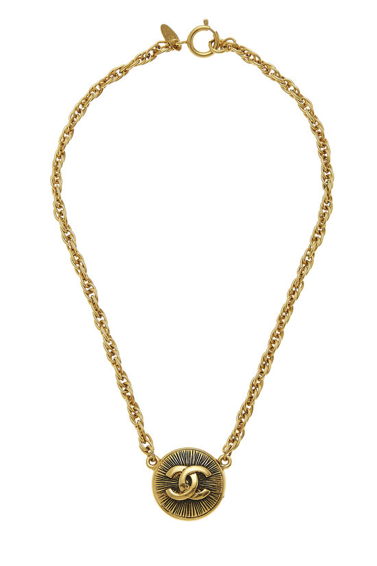 Gold 'CC' Sunburst Necklace, , large image number 0