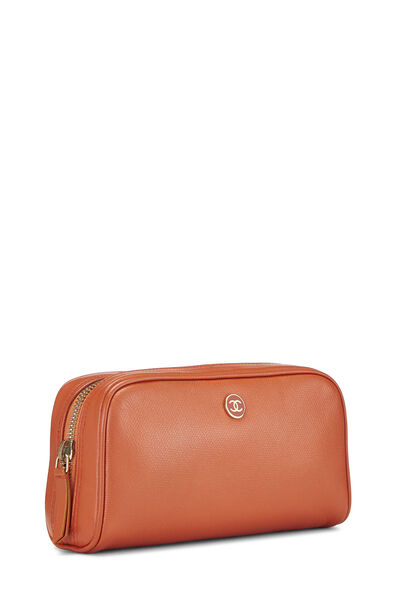 Orange Leather Cosmetic Pouch, , large