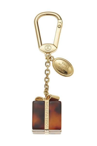 Gold & Tortoise Gift Box Key Holder, , large