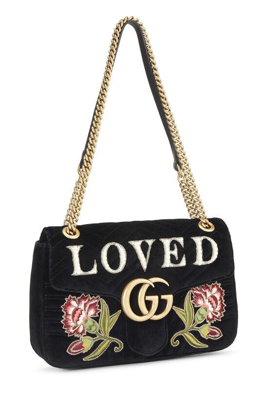 Black Velvet GG Marmont Loved Shoulder Bag, , large image number 1