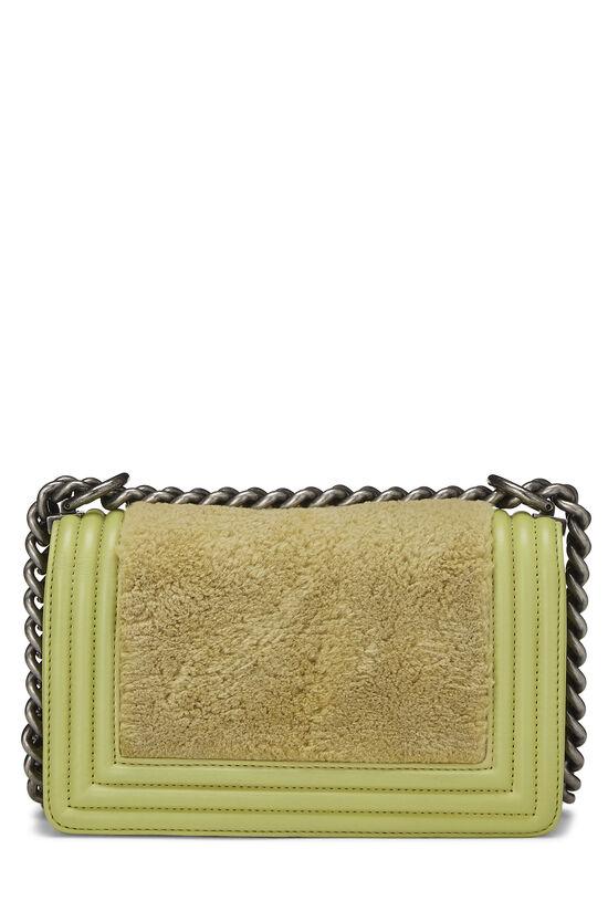 Green Fur & Calfskin Boy Bag Small, , large image number 4