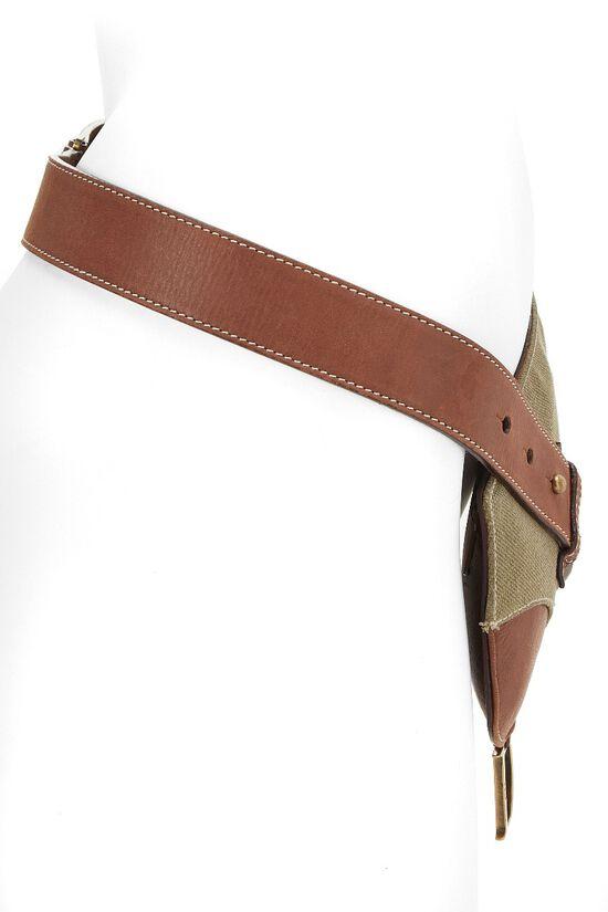 Brown Leather & Olive Canvas Saddle Belt Bag 90, , large image number 2