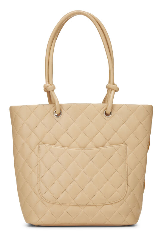 Beige Quilted Calfskin Cambon Ligne Tote Small, , large image number 3
