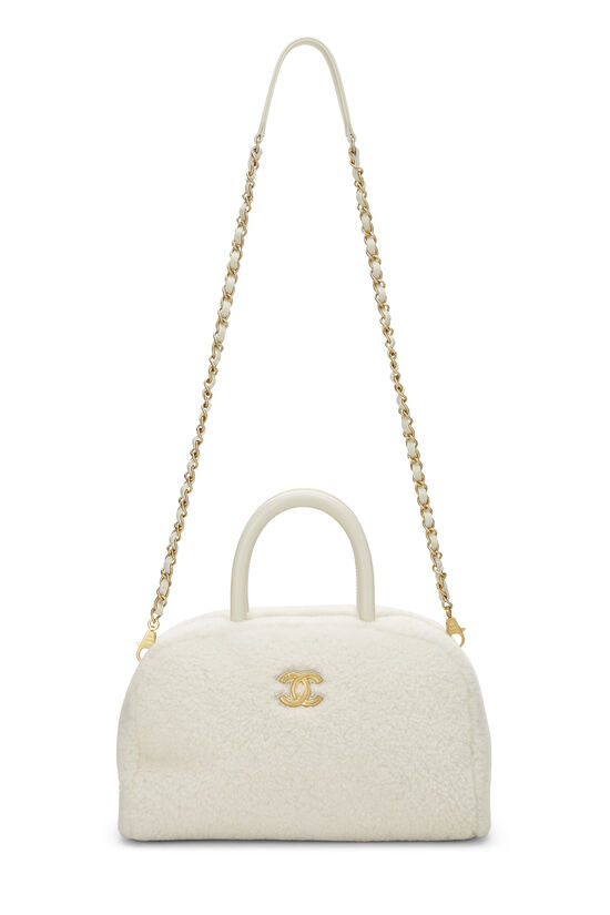 White Shearling Coco Bowling Bag, , large image number 6