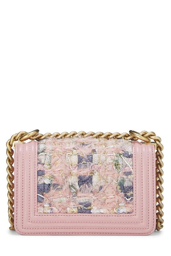 Pink Calfskin & Multicolor Tweed Boy Bag Mini, , large image number 4