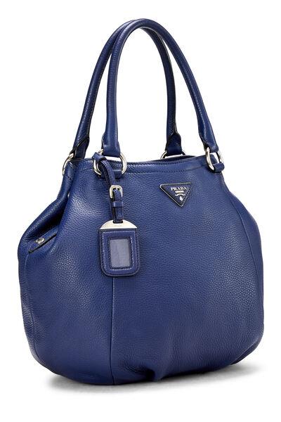 Blue Vitello Daino Shoulder Bag, , large