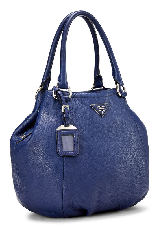 Blue Vitello Daino Shoulder Bag, , large image number 1