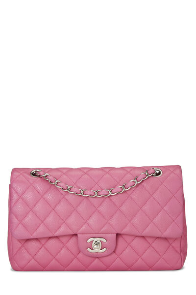 Pink Quilted Caviar Classic Double Flap Medium