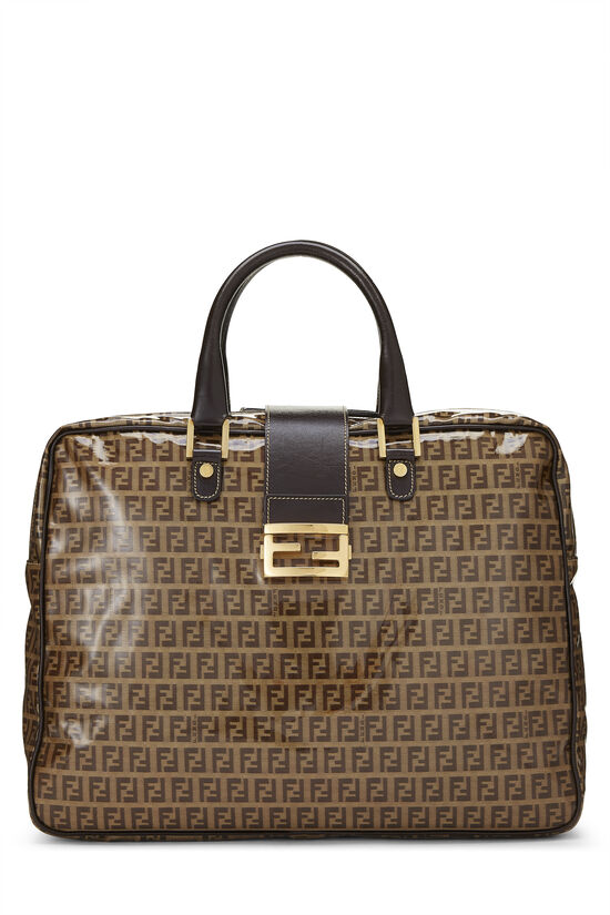 Brown Zucchino Coated Canvas Briefcase, , large image number 0