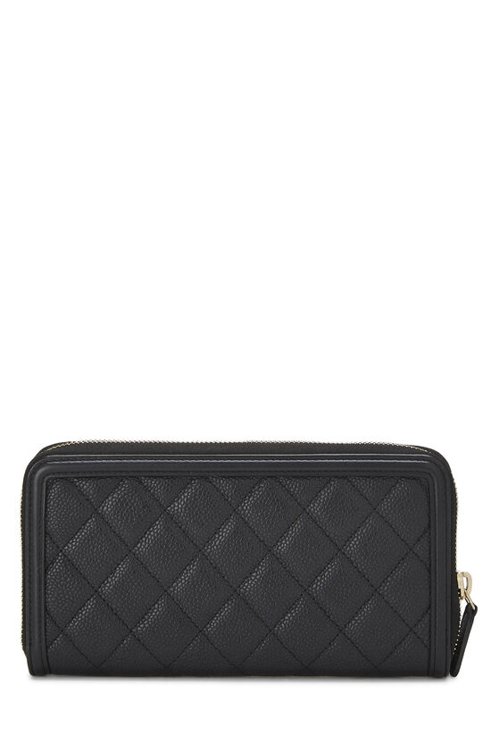 Black Quilted Caviar Filigree Zippy Wallet, , large image number 2
