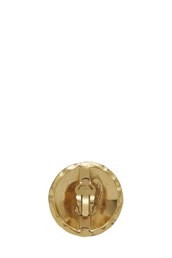 Gold Quilted Round Earrings Large, , large image number 1