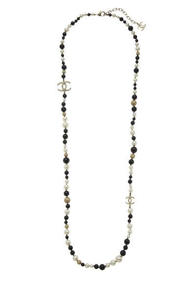 Black & White Faux Pearl 'CC' Necklace, , large