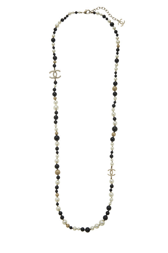 Black & White Faux Pearl 'CC' Necklace, , large image number 1