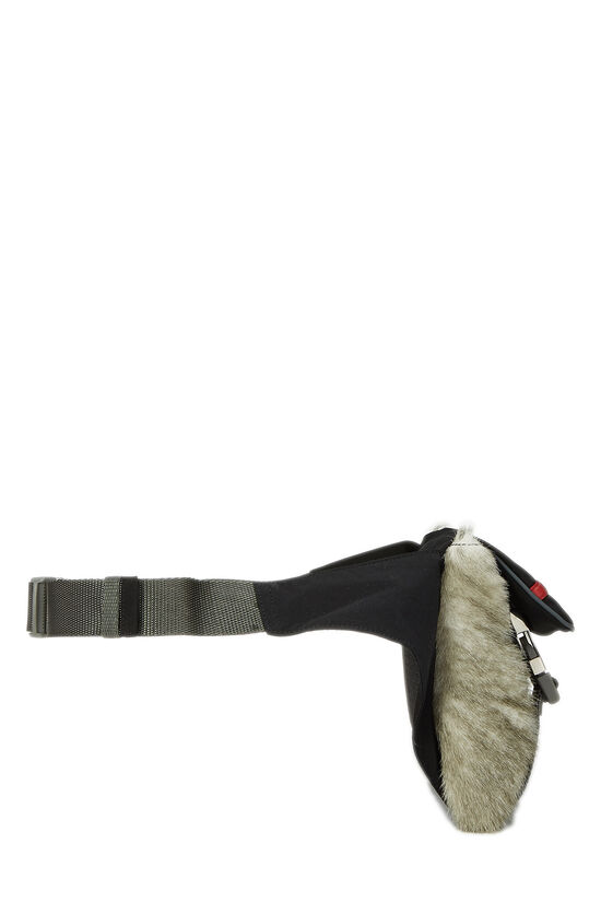 Black Nylon & Fur Sport Belt Bag, , large image number 2
