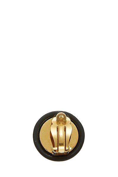 Black Acrylic Button Earrings, , large