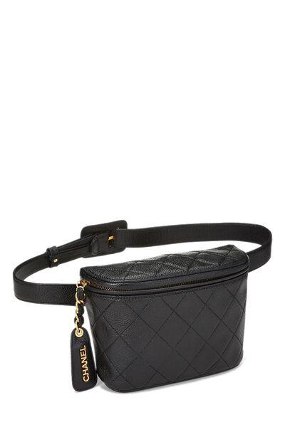 Black Quilted Caviar Belt Bag 30, , large