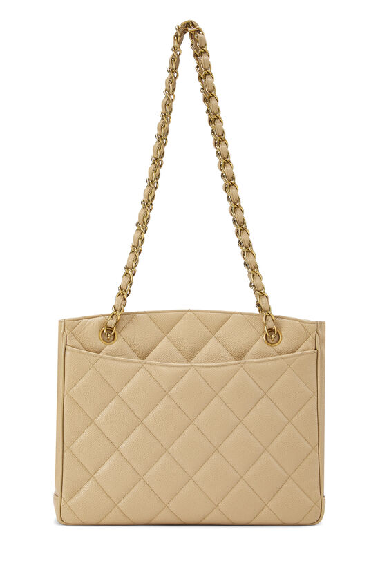 Beige Quilted Caviar Turnlock Tote Small, , large image number 3
