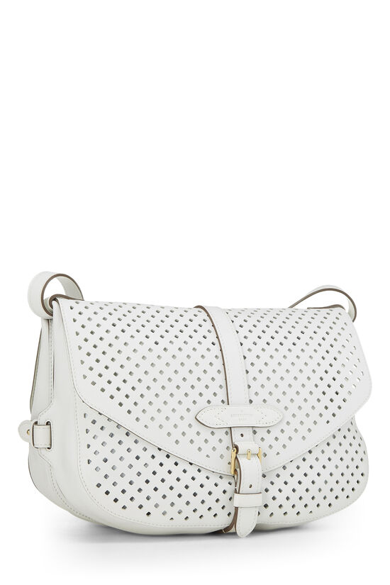 White Perforated Leather Saumur 30, , large image number 1