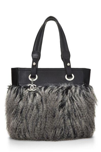 Black Leather & Fantasy Fur Paris Biarritz Tote