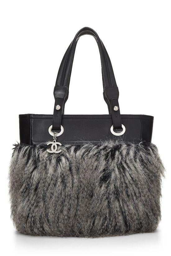 Black Leather & Fantasy Fur Paris Biarritz Tote, , large image number 0