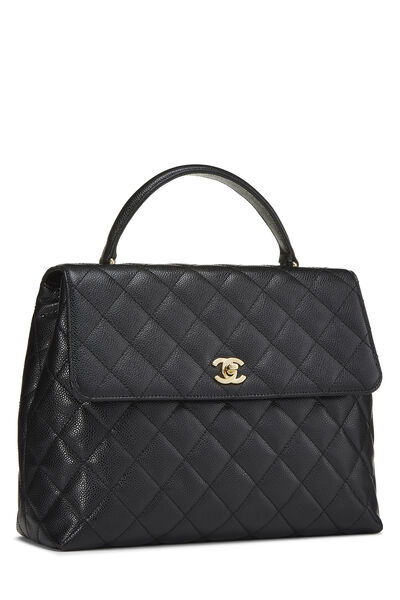 Black Quilted Caviar Kelly Jumbo, , large