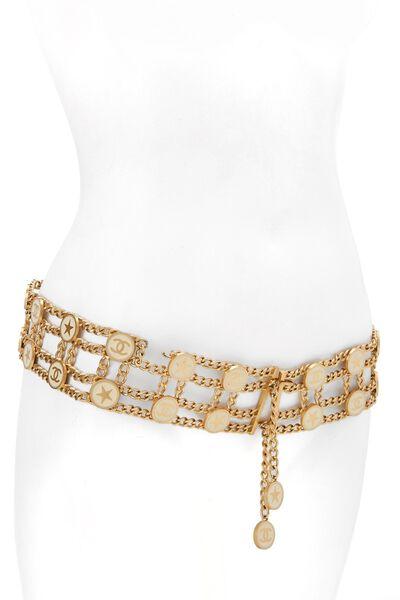 Gold & White Enamel Star Chain Belt, , large